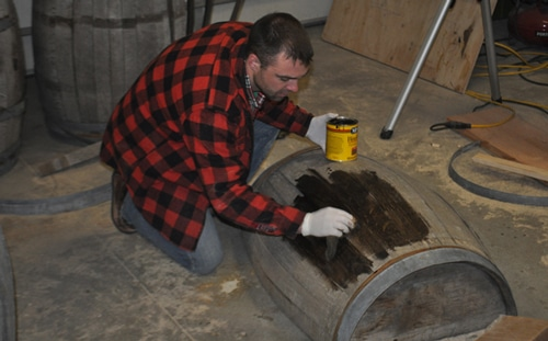 How to stain a whiskey barrel.