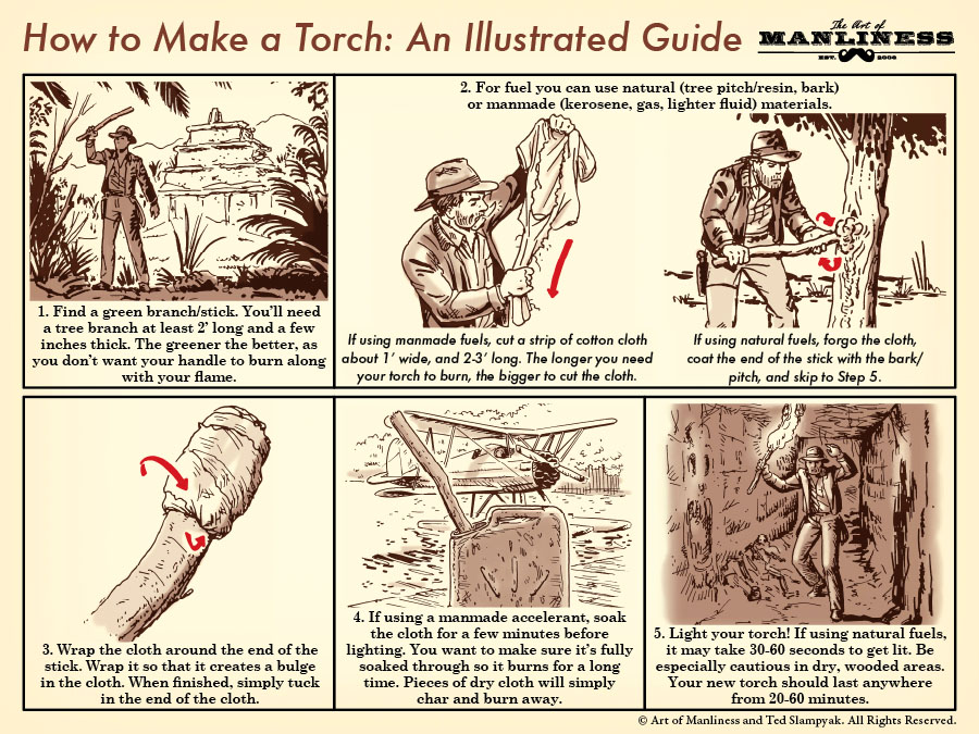 How to make a torch like indiana jones an illustrated guide the 1 find a green branchstick youll need a tree branch ccuart Images