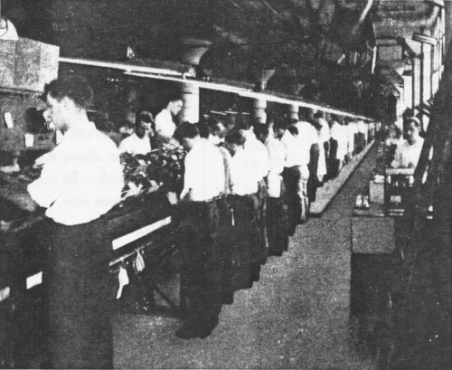 Vintage men doing works in factory.