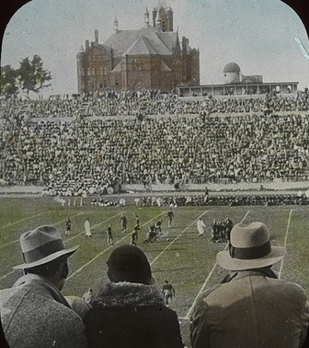 Spectators at a syracuse football game in Archbold Stadium, late 1920s.