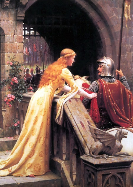 Vintage painting knight being touched by princess.