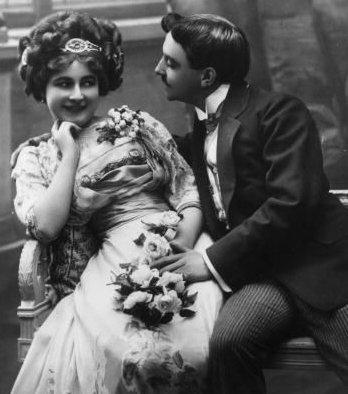 vintage man flirting touching woman