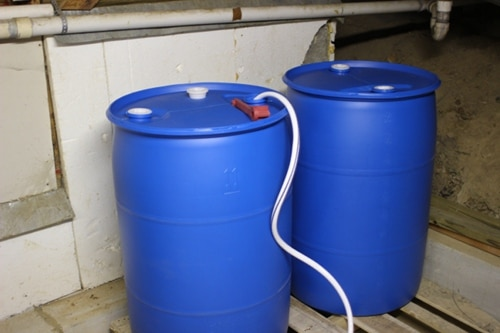 filled water barrels
