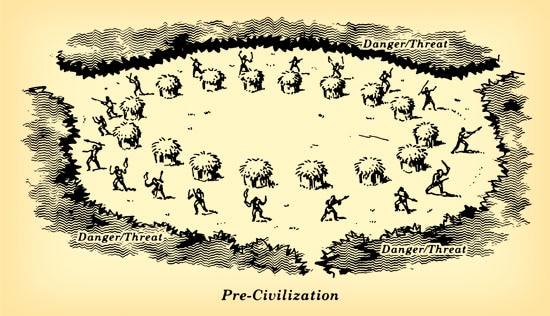 Soldiers defending our civilization illustration.
