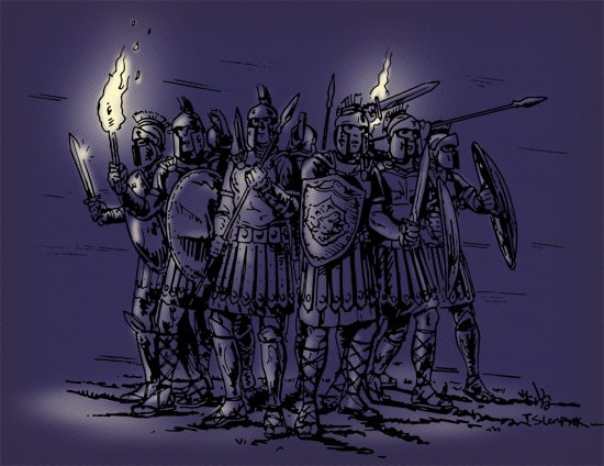spartan soldiers in group with shields swords torches illustration