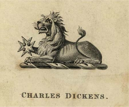 A bookplate by Charles Dickens.