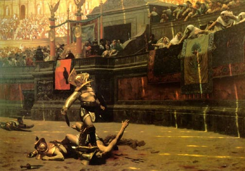 painting of roman gladiator dead opponents playing up crowd