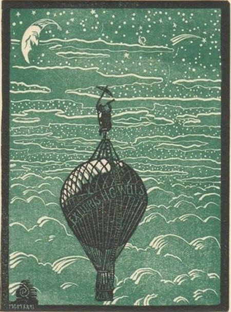 A bookplate by H G Wells.