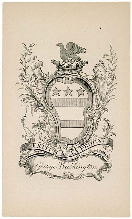 george washington Bookplate ex libris ends justify means