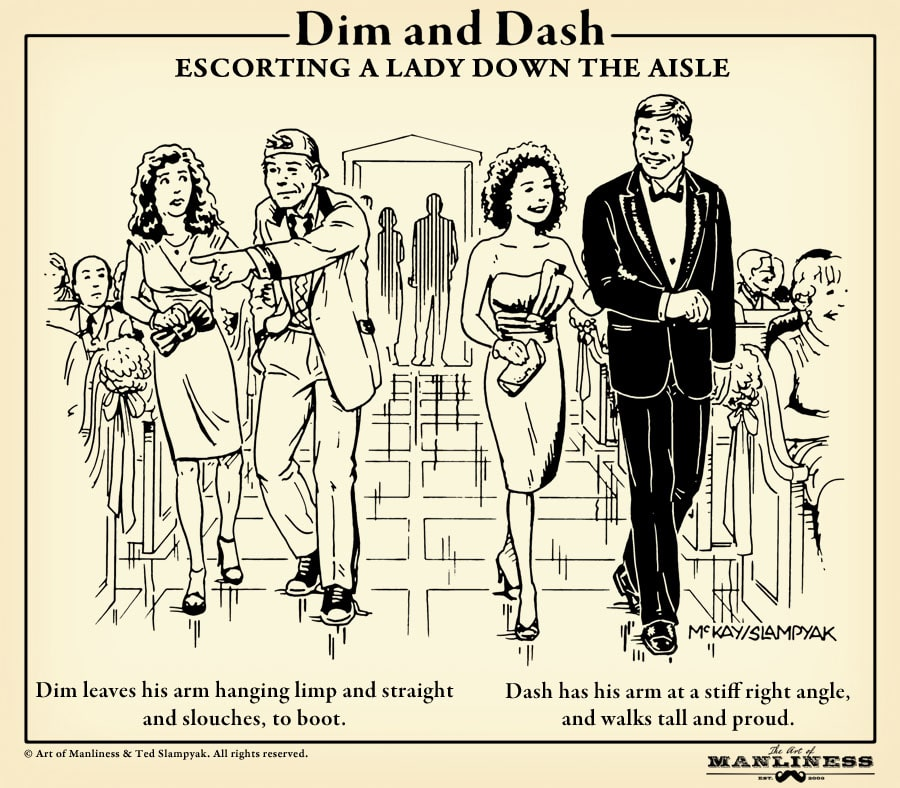 wedding usher etiquette walking people to seats illustration