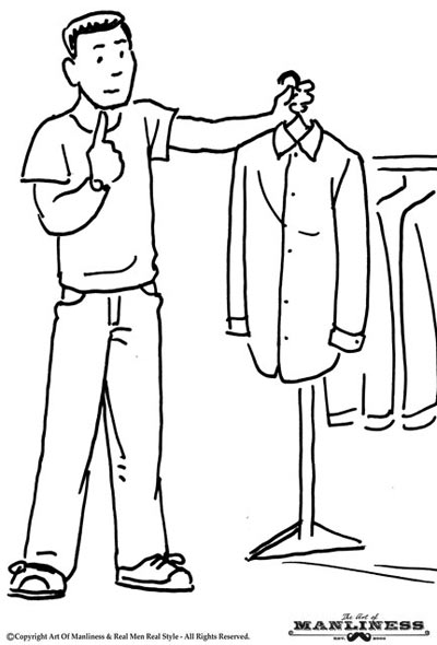 man looking in closet pulling out looking at shirt illustration