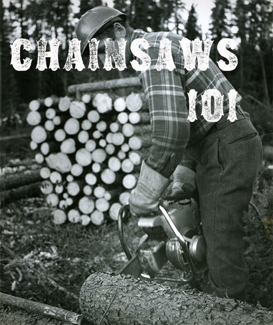 chainsaws 101 man sawing tree log black white