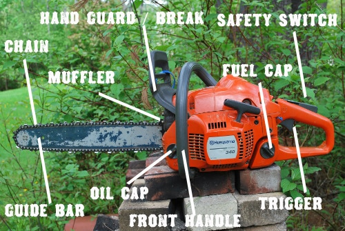chainsaw anatomy diagram chain guide bar handle guard