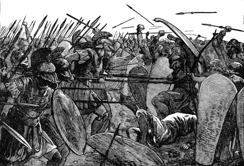 illustration spartan warriors in battle spears and swords