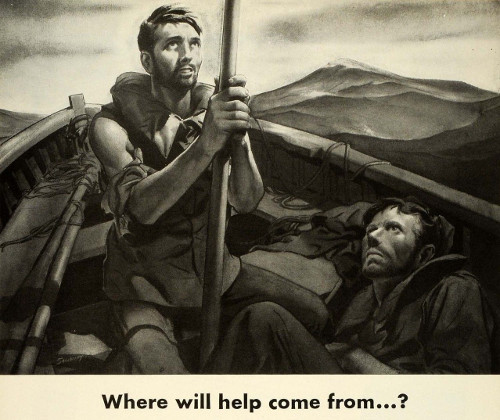 vintage illustration where will help come from men in boat on ocean