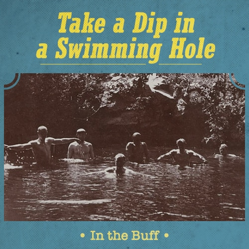 Vintage men taking dip in a swimming hole.
