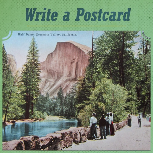 Vintage men seeing postcard in valley.