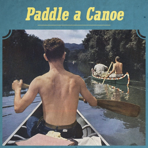 Vintage men paddle a canoe in river.