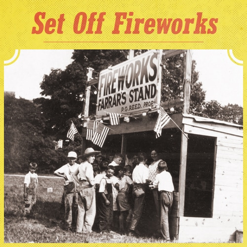 vintage fireworks stand boys crowded around