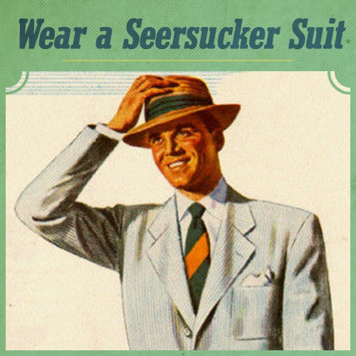 Man wearing a seersucker suit illustration.