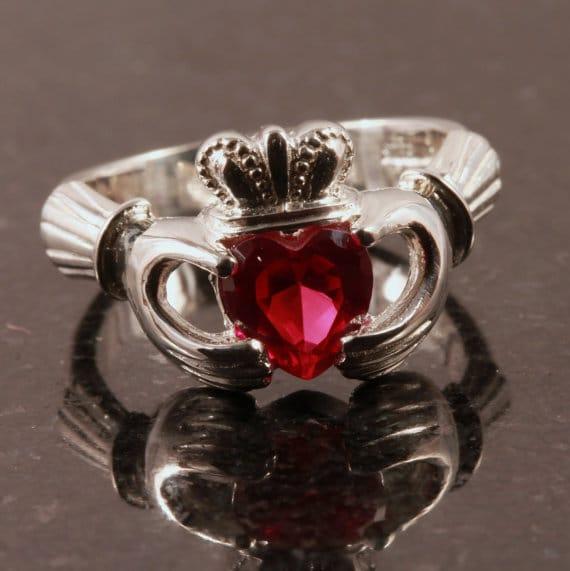 ruby claddagh engagement ring diamond alternative