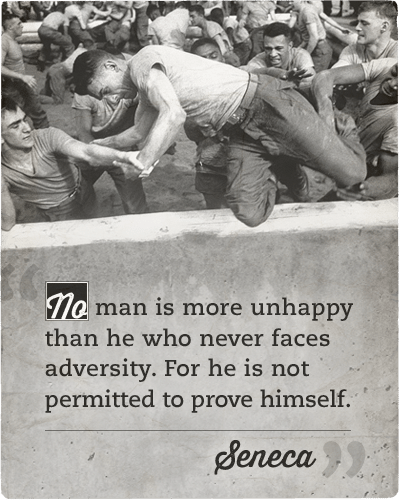 seneca adversity quote man jumping over wall boot camp