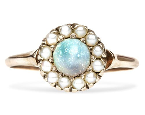 antique opal and pearl engagement ring from the victorian era - Non Diamond Wedding Rings