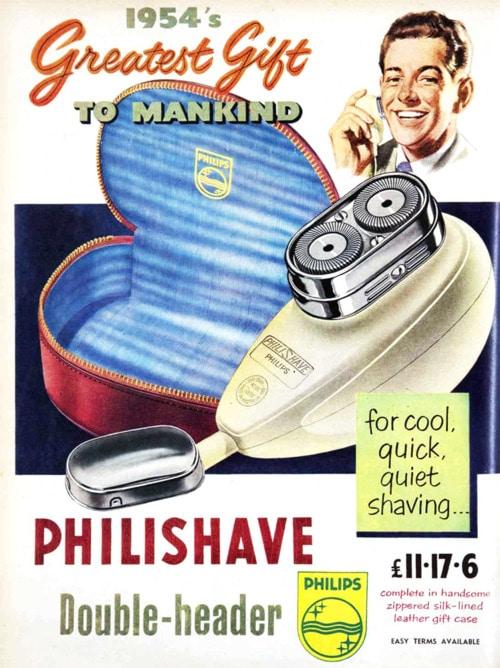 vintage phillips philishave electric razor shaver ad advertisement