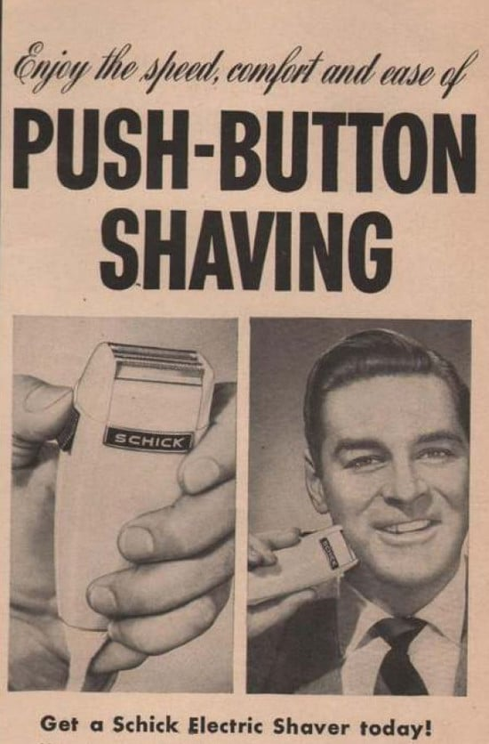 vintage shick electric razor shaver ad advertisement push button shaving