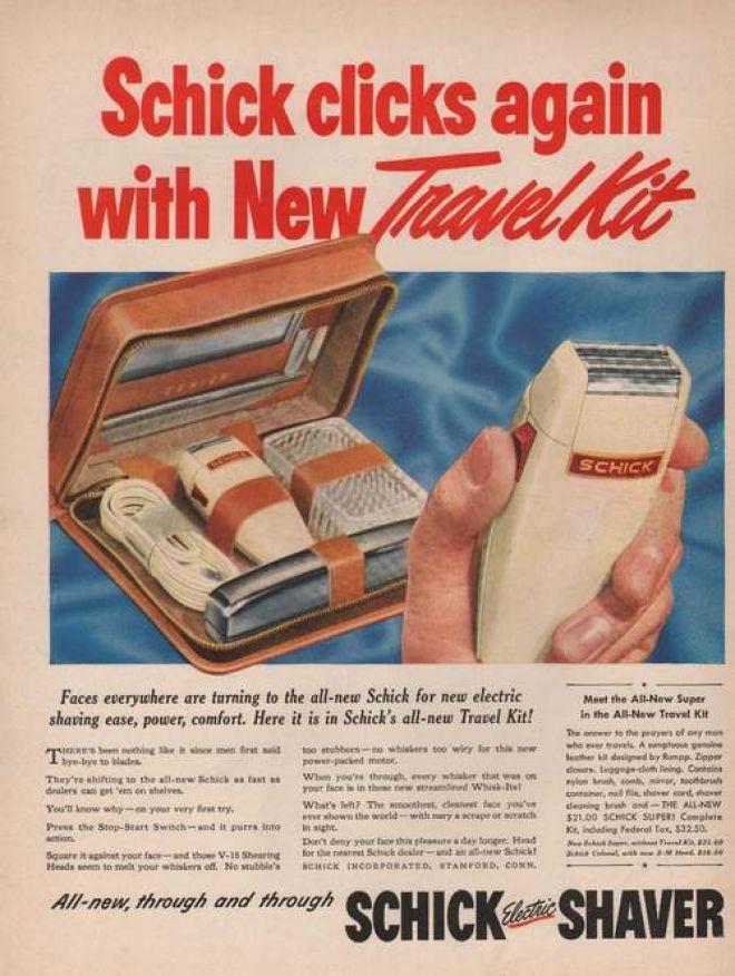 vintage schick eléctrica razor shaver ad advertisement travel kit