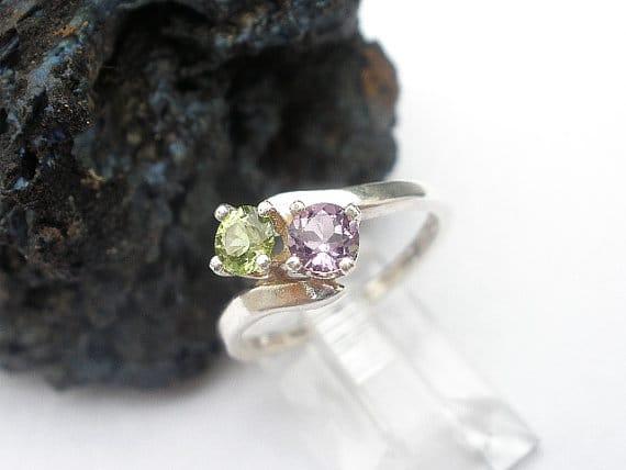 his hers birthstone engagement ring diamond alternative