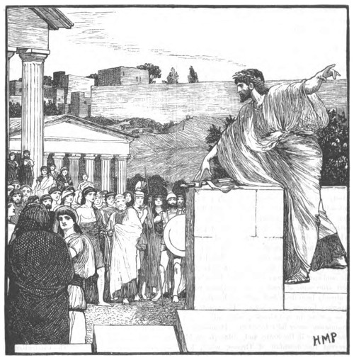 ancient greek man on podium debating with citizens