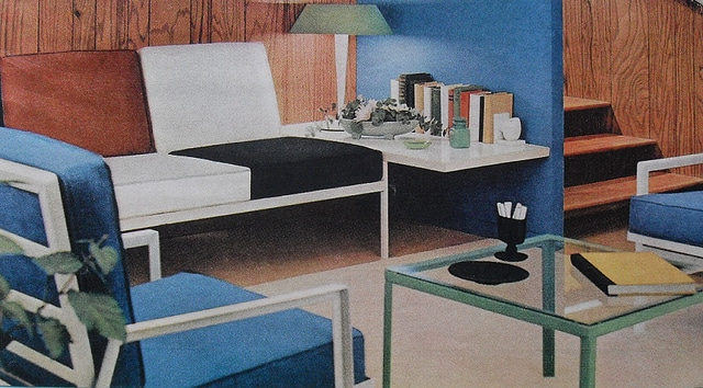 vintage mid-century 1950s apartment furniture illustration