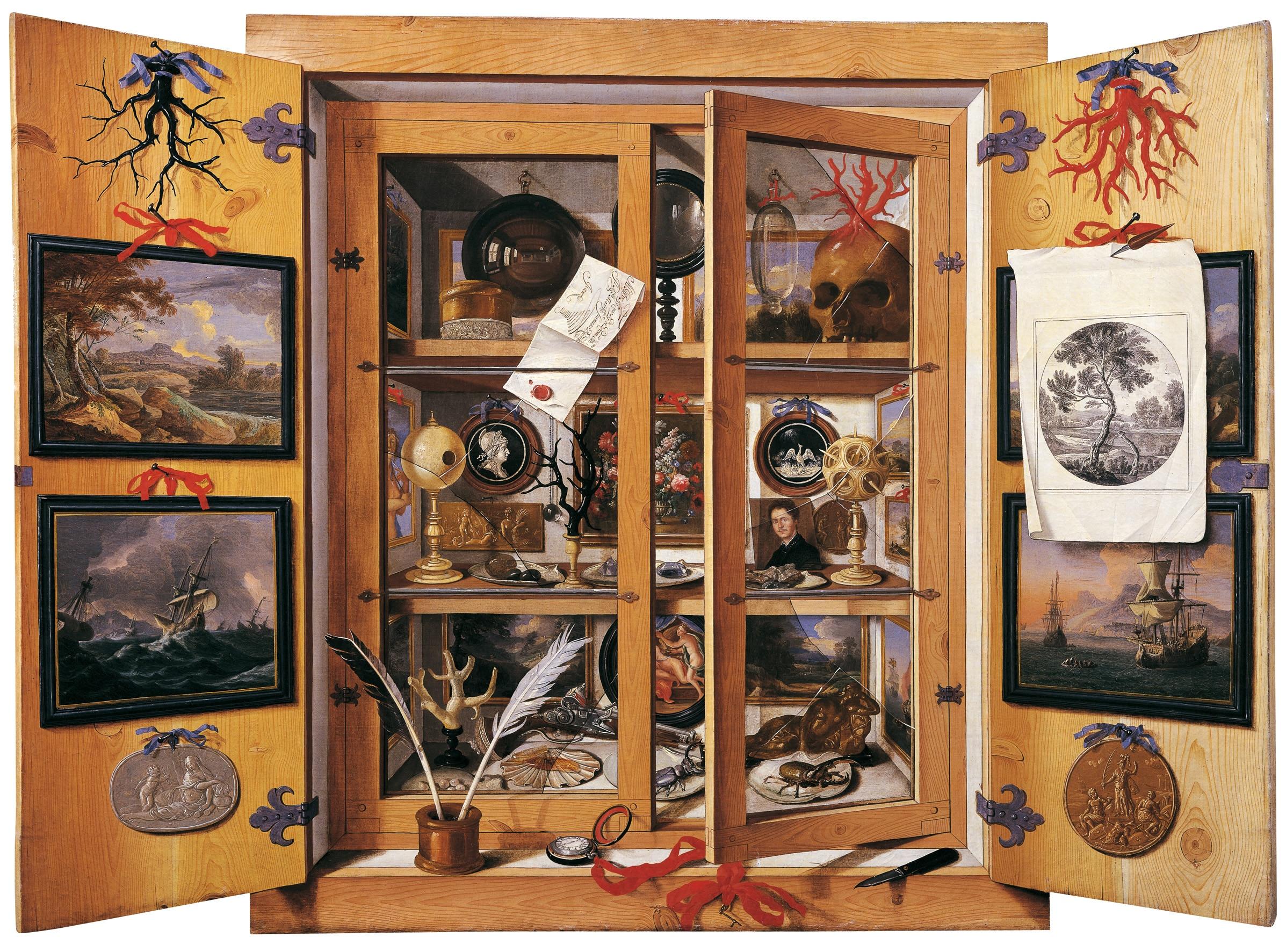 """Cabinet of Curiosities"" painting by Domenico Remps, 17th century."