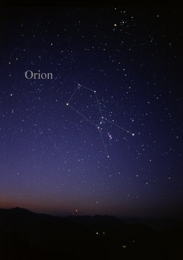 Representation of Orion on sky.