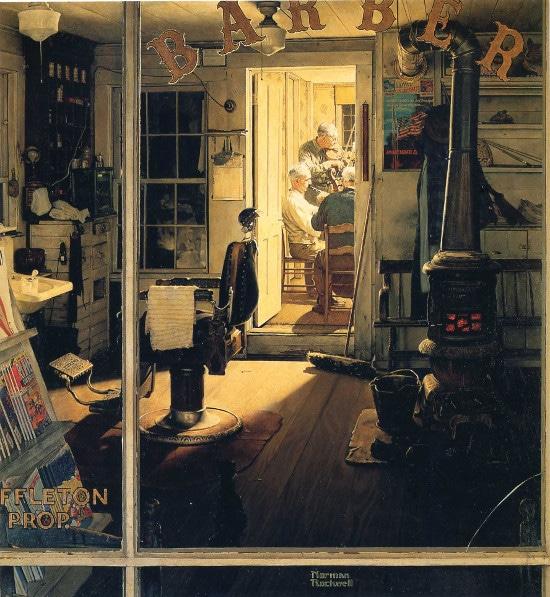 vintage painting barbershop men in back room talking