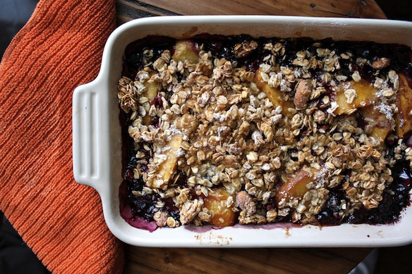 homemade Blueberry Peach Bourbon Granola Crisp