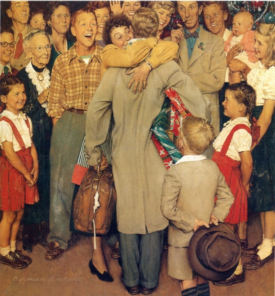 vintage painting man coming home from trip being welcomed