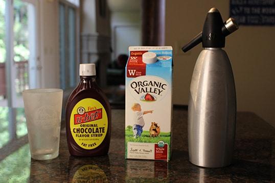 Ingredients for homemade egg cream.