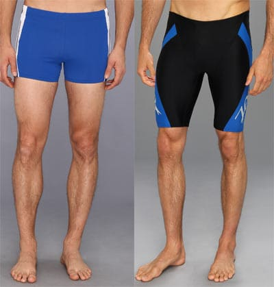 square-cut swim shorts and jammers