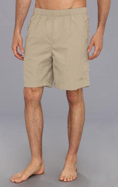 Man wearing a shorts swim suit.