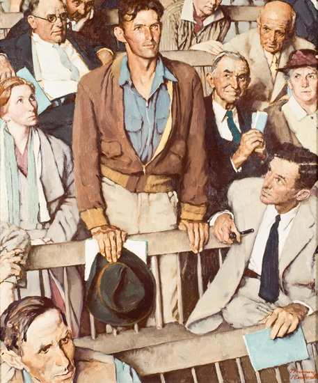 vintage illustration painting man standing at community meeting