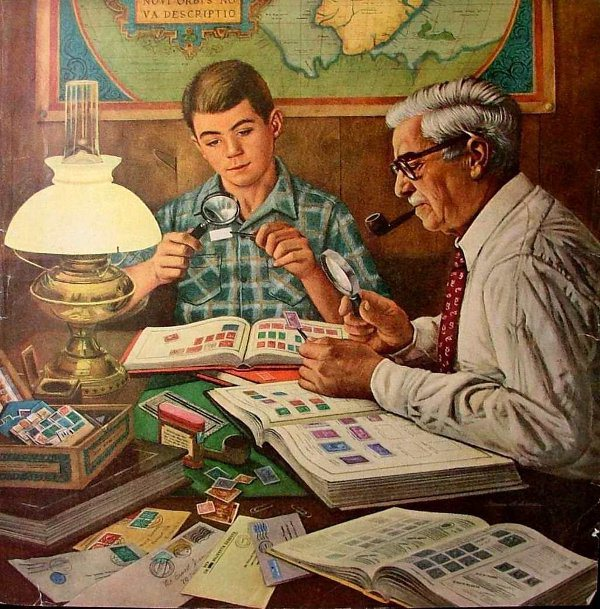 vintage painting illustration boy and older man looking at stamp collection