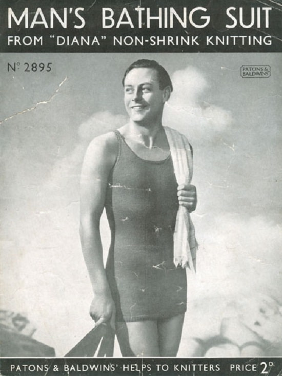 a knitted full-size man's bathing suit