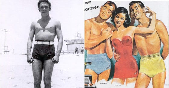 men used to wear short swimsuits