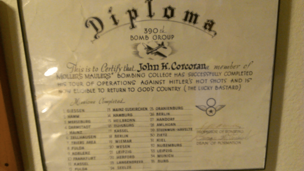 "My Grandfather's ""Diploma"" from completing 35 bombing missions as part of the 390th Bomb Group during WWII"