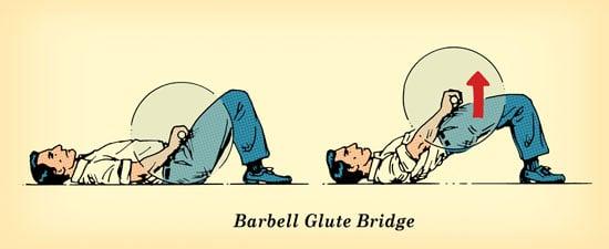 Man doing barbell bridge exercise illustration.