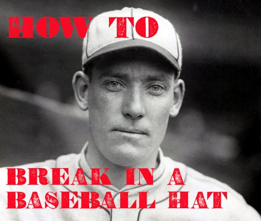 break in a baseball hate vintage baseball player with ball cap