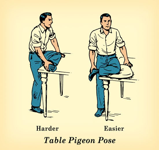 pigeon pose exercise undo damage of sitting