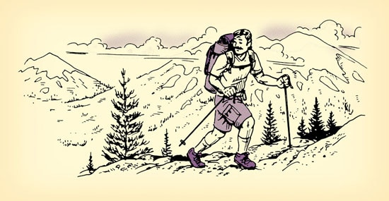 man hiking climbing up mountain illustration